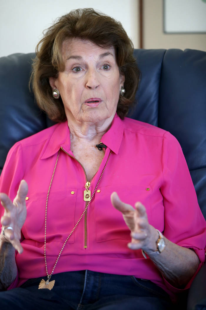 Nonpartisan voter Barbara Gruhl talks to a reporter at her Henderson home Friday, Jan. 24, 2020 ...