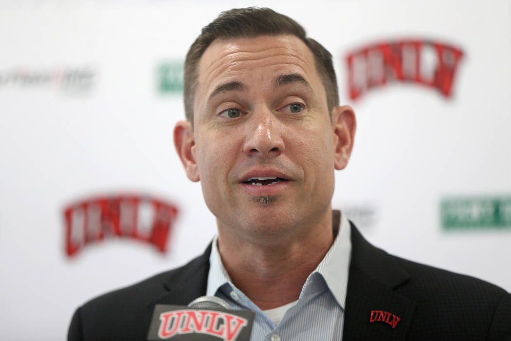 UNLV football head coach Marcus Arroyo announces his first recruiting class during a press conf ...