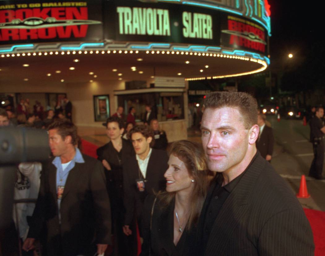 """Howie Long and his wife Diane arrive at the premiere of """"Broken Arrow"""", Monday night, Feb. 5, 1 ..."""