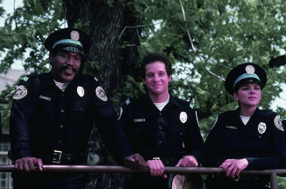 """From left, Bubba Smith, Steve Guttenberg and Kim Cattrall star in """"Police Academy."""" (Warner Bros.)"""