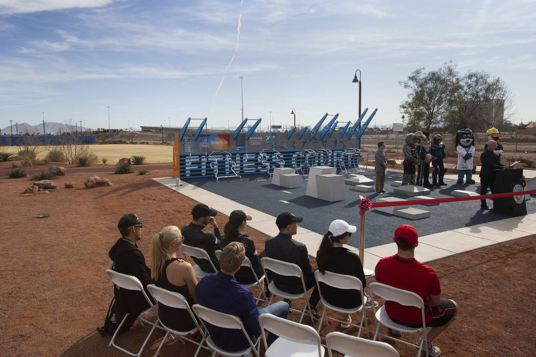 National Fitness Campaign founder Mitch Menaged dedicates the new outdoor Fitness Court at Bill ...