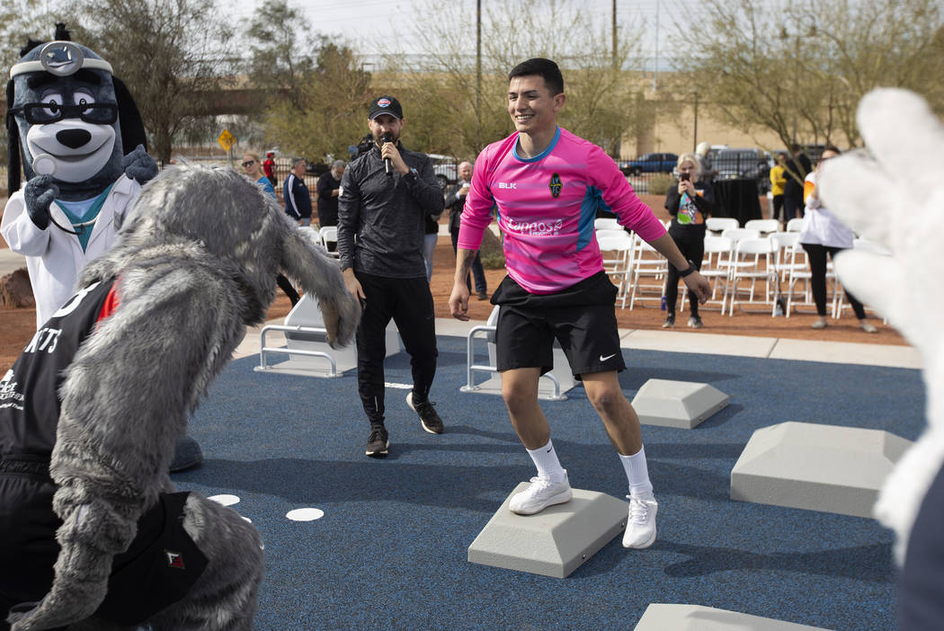 Las Vegas Lights goalkeeper Angel Alvarez does a demonstration workout with the Las Vegas Aces ...