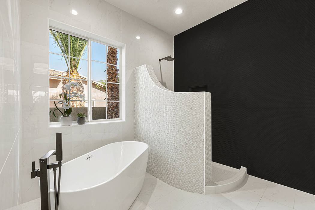 The master bath has custom features. (Red Luxury Real Estate)