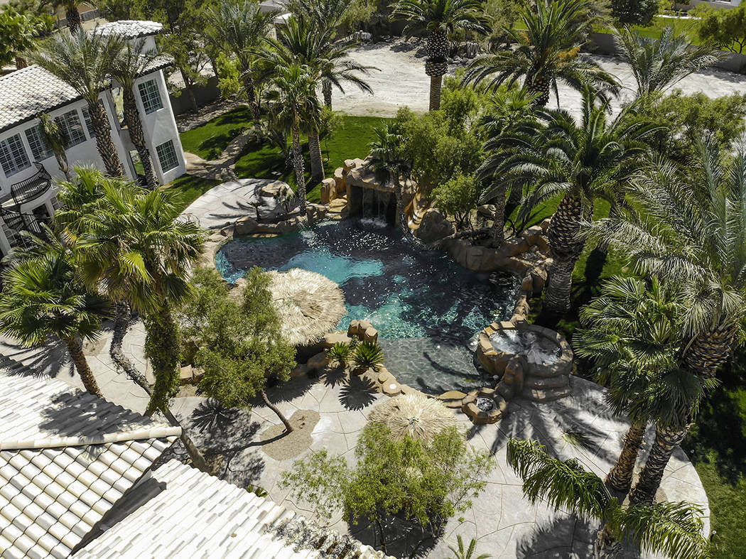 The backyard has swimming pool with water slide, waterfall and grotto and swim-up bar. (Red Lux ...