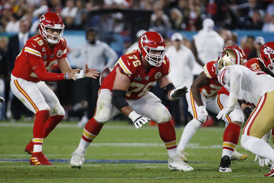 Kansas City Chiefs' Laurent Duvernay-Tardif (76) works agaijst the San Francisco 49ers during t ...