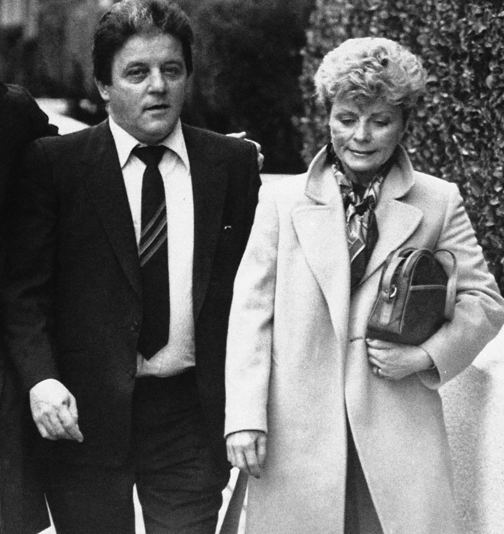 Mobster Anthony Spilotro with his wife, Nancy, at his racketeering trial in Las Vegas, on June ...
