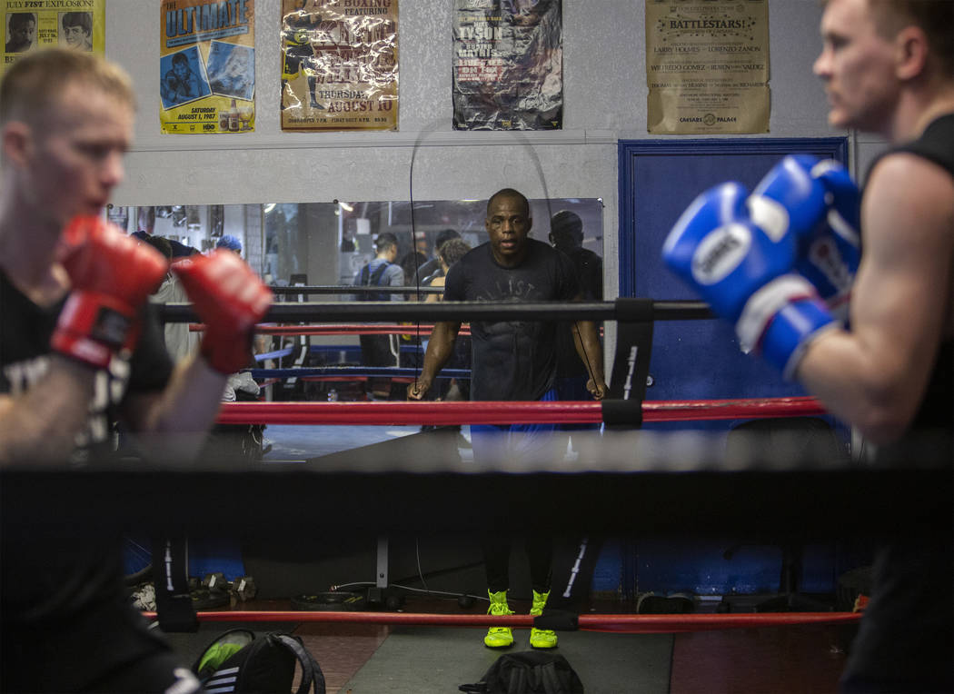 Heavyweight boxer Nicolas Rubens, center, jumps rope during his training session on Friday, Jan ...