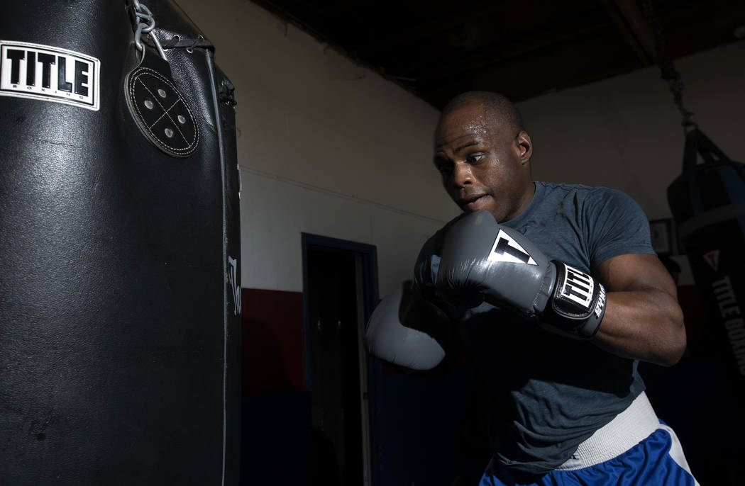 Boxer Rubens Nicolas punches the heavyweight bags during practice on Friday, Jan. 24, 2020, at ...