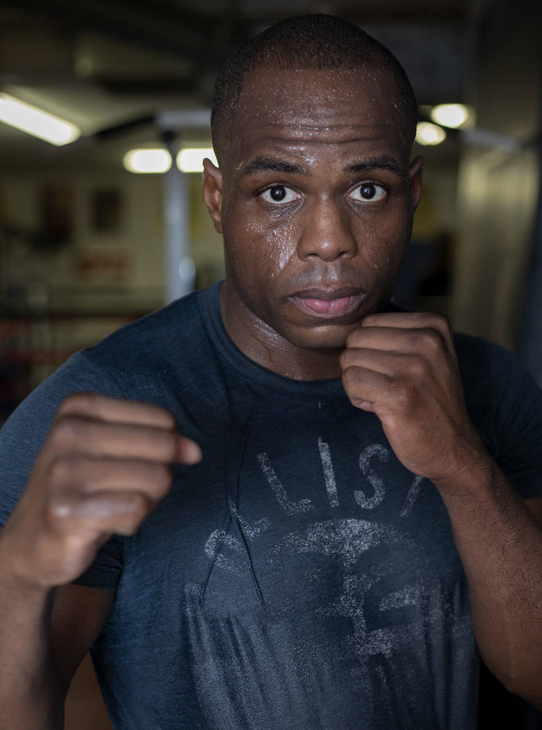 Heavyweight boxer Rubens Nicolas poses for a portrait before practice on Friday, Jan. 24, 2020, ...