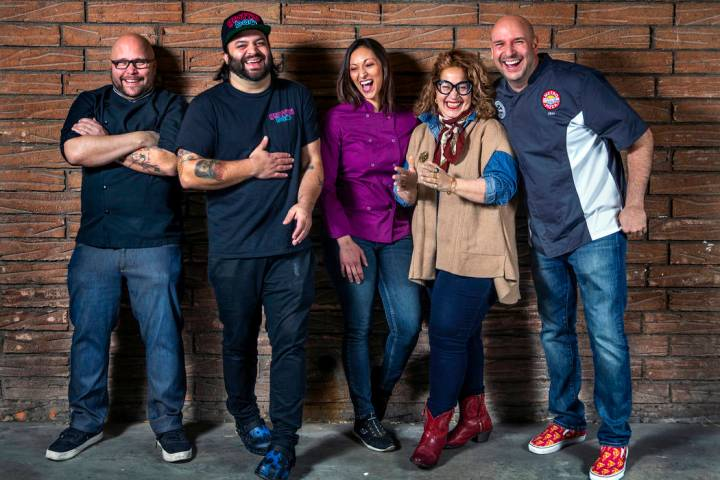 Chefs to watch group shot on Jan. 28, 2020, in Las Vegas. Lanny Chin of The Slanted Door, Marc ...