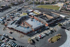 An aerial photo shows construction underway on the new St. Anthony of Padua Roman Catholic Scho ...