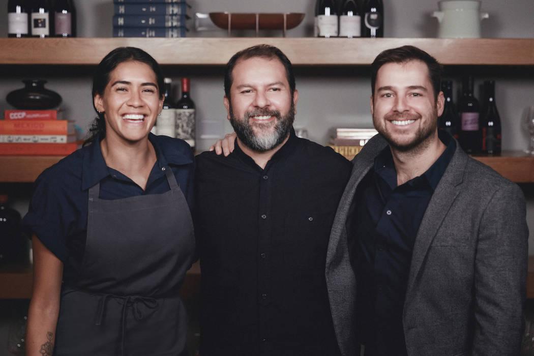 Partners in Elio are, from left, Daniela Soto-Innes, Enrique Olvera and Santiago Perez. (Hagop ...