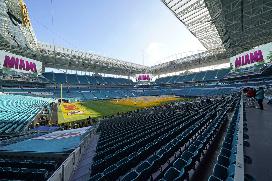 Grow lights cover a portion of the grass field inside Hard Rock Stadium Tuesday, Jan. 28, 2020, ...
