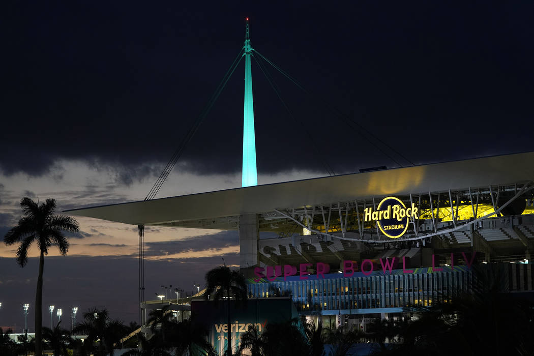 Hard Rock Stadium is shown Thursday, Jan. 30, 2020, in Miami Gardens, Fla., in preparation for ...