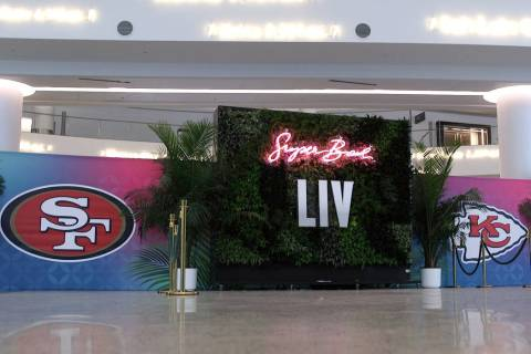 Signage at the entrance for the NFL Experience at the Miami Beach Convention Center in Miami, F ...