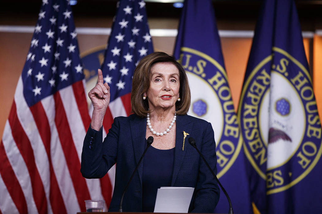Speaker of the House Nancy Pelosi of Calif., speaks during a news conference, on Capitol Hill i ...