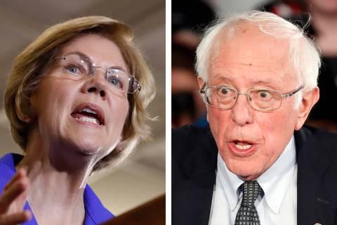 Sen. Elizabeth Warren, D-Mass., left, and Sen. Bernie Sanders, I-Vt. (AP Photos)