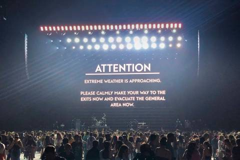 A message appears on stage warning concertgoers of extreme weather at the Pepsi Zero Sugar Supe ...