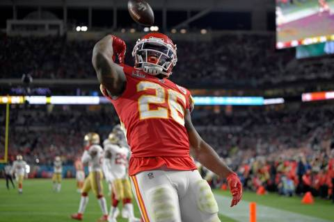 Kansas City Chiefs' Damien Williams celebrates his touchdown against the San Francisco 49ers du ...
