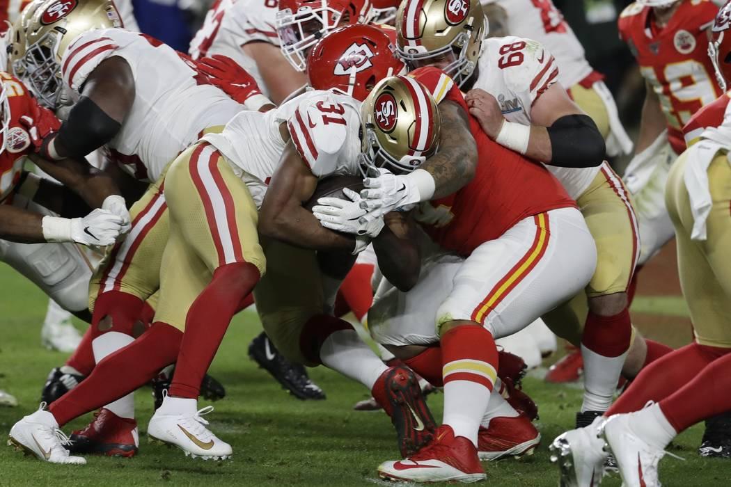 San Francisco 49ers' Raheem Mostert (31) runs for a touchdown against the Kansas City Chiefs du ...