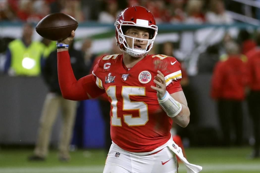 Kansas City Chiefs' quarterback Patrick Mahomes passes against the San Francisco 49ers during t ...