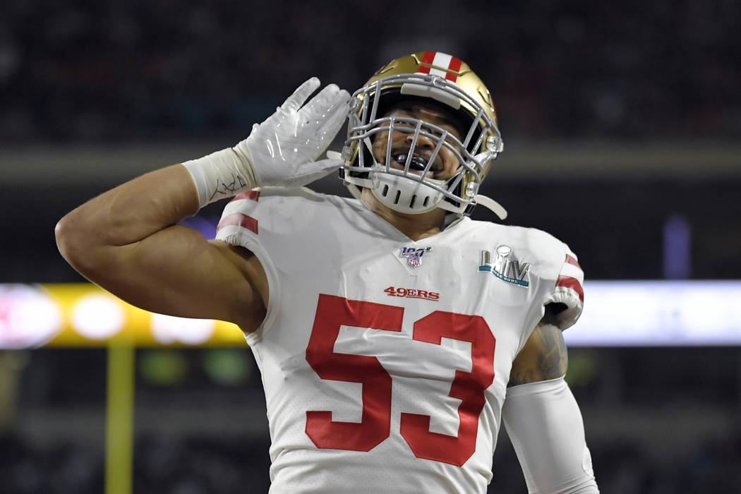 San Francisco 49ers' Mark Nzeocha reacts after a play against the Kansas City Chiefs during the ...