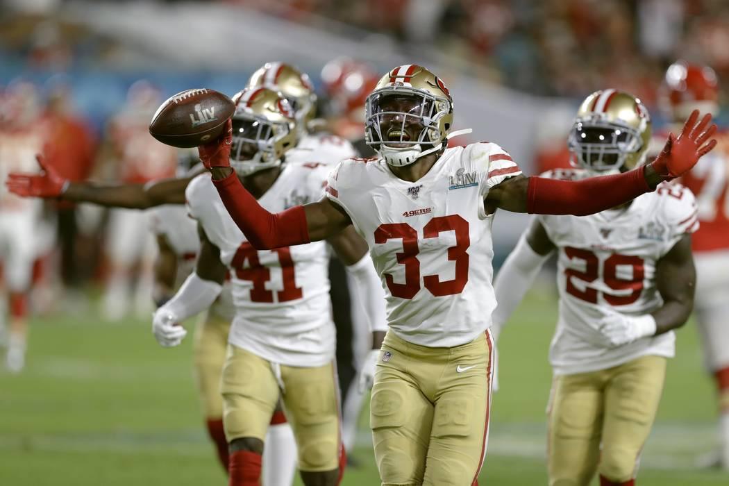 San Francisco 49ers' Tarvarius Moore celebrates his interception against the Kansas City Chiefs ...