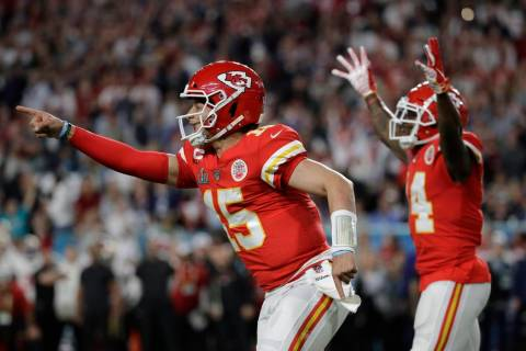Kansas City Chiefs quarterback Patrick Mahomes (15) celebrates a play the San Francisco 49ers d ...