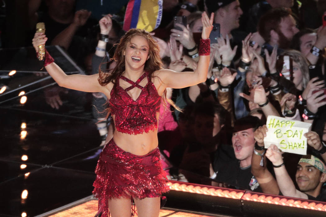 Singer Shakira performs, during the halftime show at the NFL Super Bowl 54 football game betwee ...