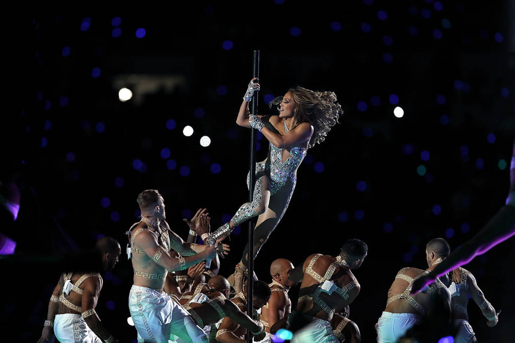 Jennifer Lopez performs during halftime of the NFL Super Bowl 54 football game between the San ...