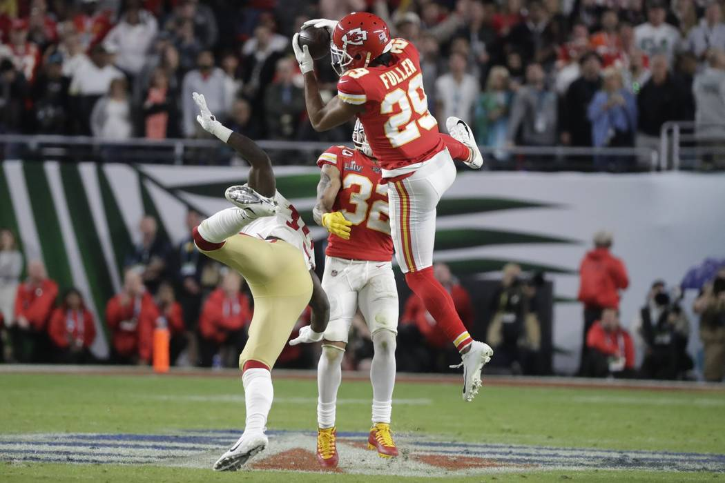 Kansas City Chiefs' Kendall Fuller (29) intercepts the ball against the San Francisco 49ers dur ...