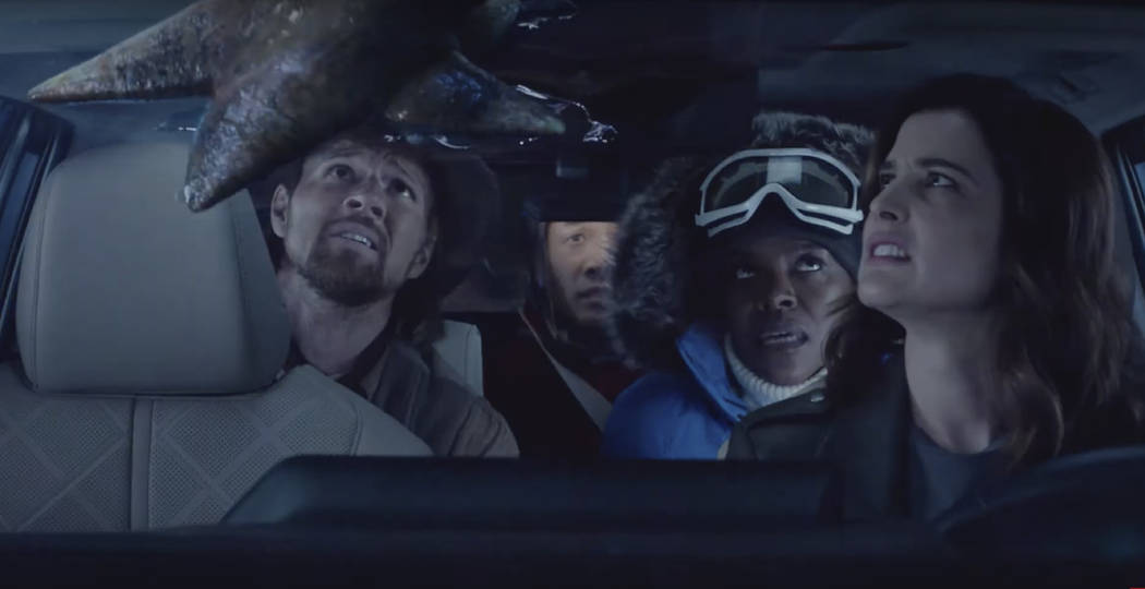 This undated image provided by Toyota shows Cobie Smulders, right, in a scene from the company' ...