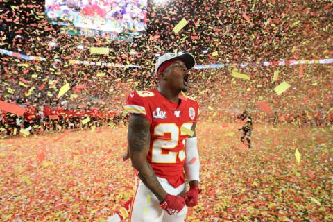 Kansas City Chiefs defensive back Armani Watts (23) celebrates his team's victory over the San ...