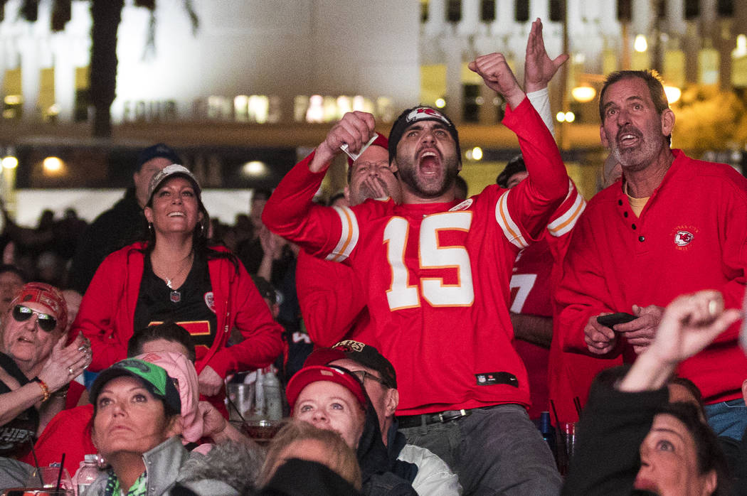 The crowd responds to the Kansas City Chiefs winning Super Bowl LIV at a watch party at the Dow ...