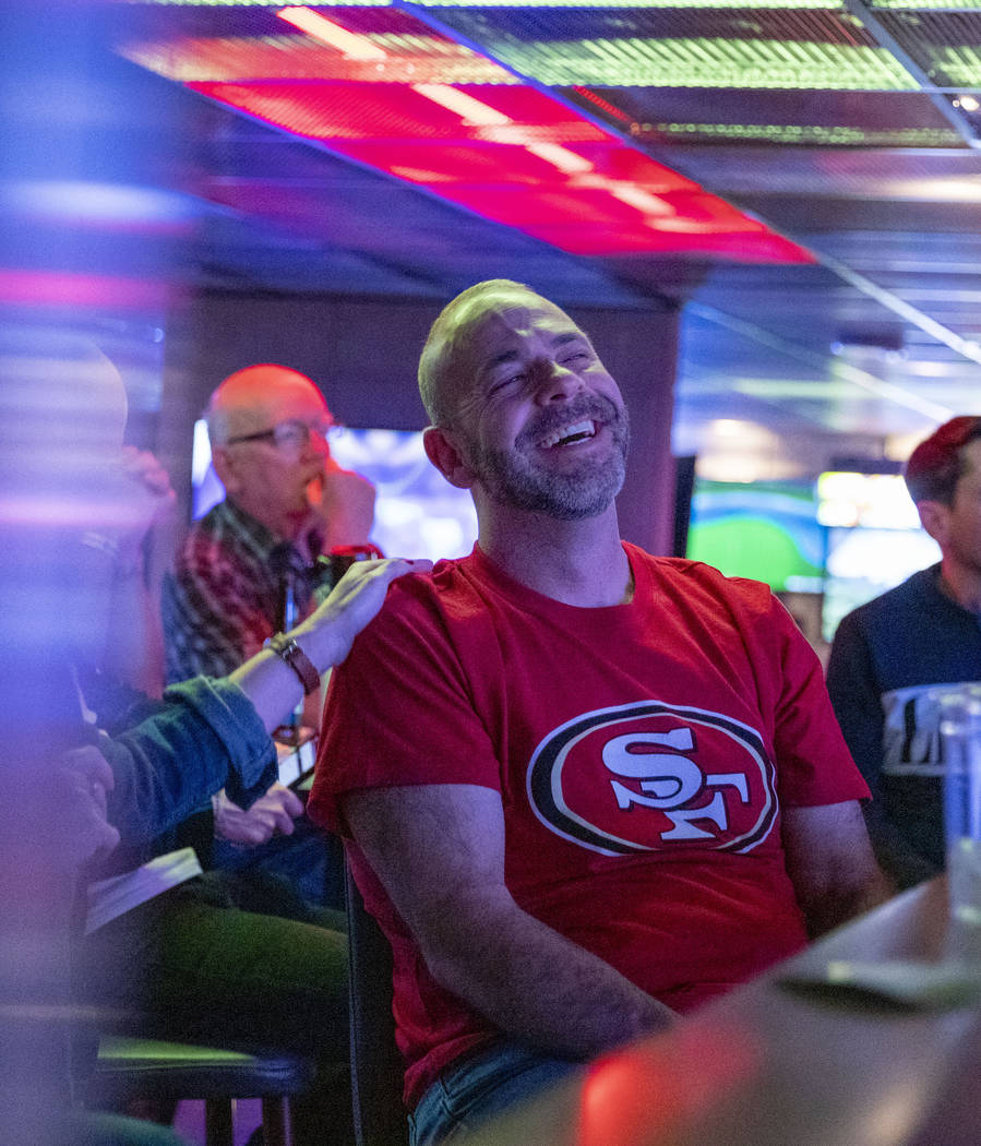 James Thornton of Columbus, Ohio, watches the Super Bowl while at a watch party at the HyperX E ...