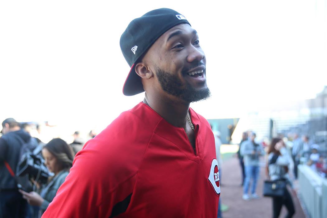 Cincinnati Reds pitchers Amir Garrett attends a live batting practice event at Las Vegas Ballpa ...