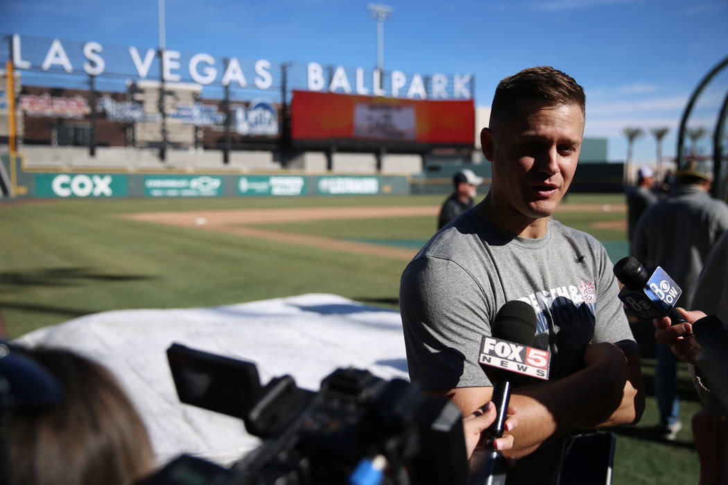 New York Mets pitcher Paul Sewald is interviewed during a live batting practice event at Las Ve ...