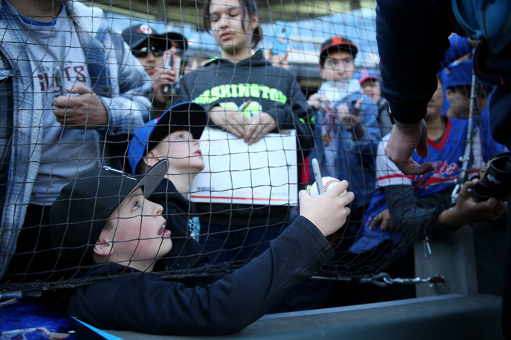 Owen Dressler, 10, left, and his brother Logan, 6, wait for autograph from Chicago Cubs player ...