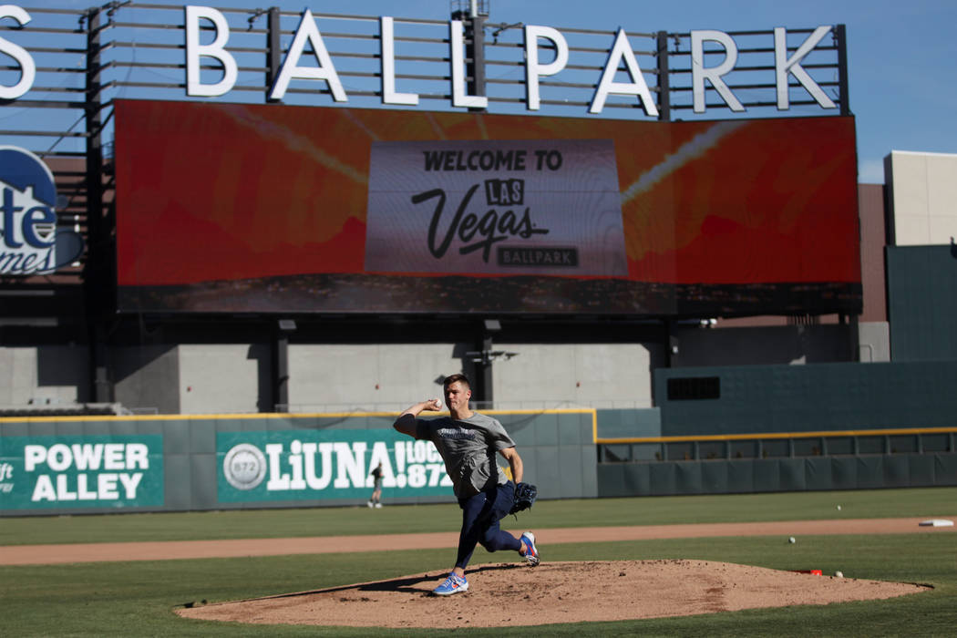 New York Mets pitcher Paul Sewald pitches during a live batting practice event at Las Vegas Bal ...