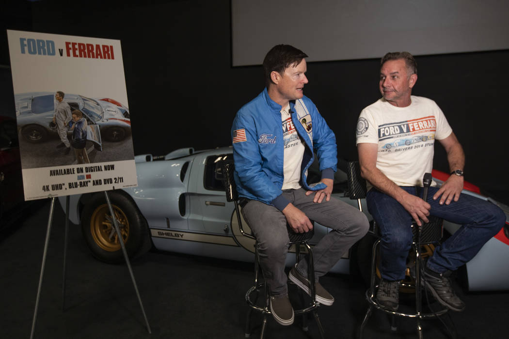 Tony Hunt, left, and Robert Nagle, right, stunt driver and stunt coordinator for the film Ford ...