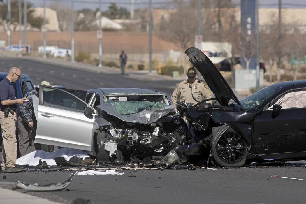 A fatal collision stops traffic on North and South Fort Apache Road from West Tropicana Avenue ...