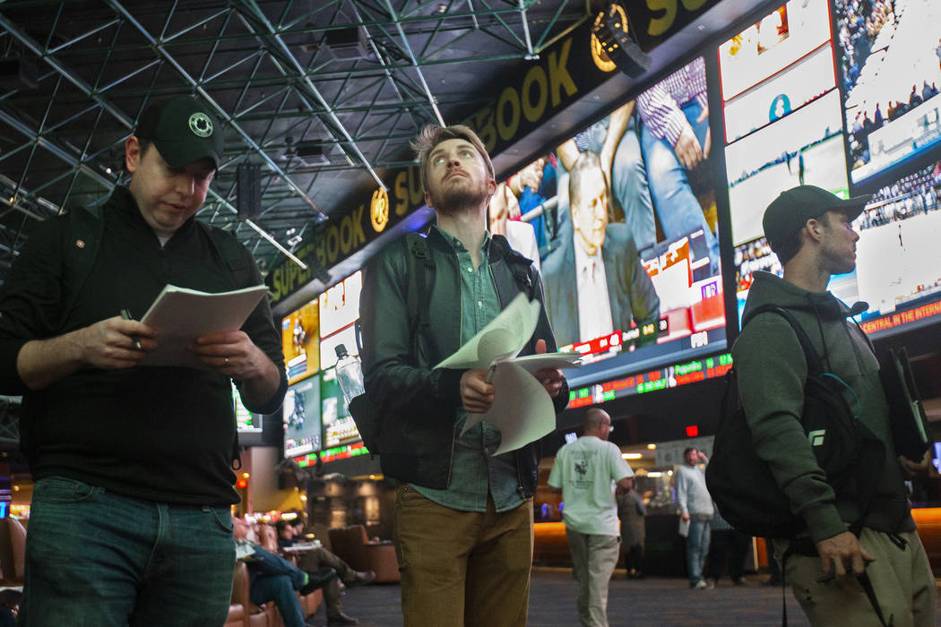 Westgate sportsbook in Las Vegas. Thursday, Jan. 23, 2020. (Benjamin Hager/Las Vegas Review-Jou ...