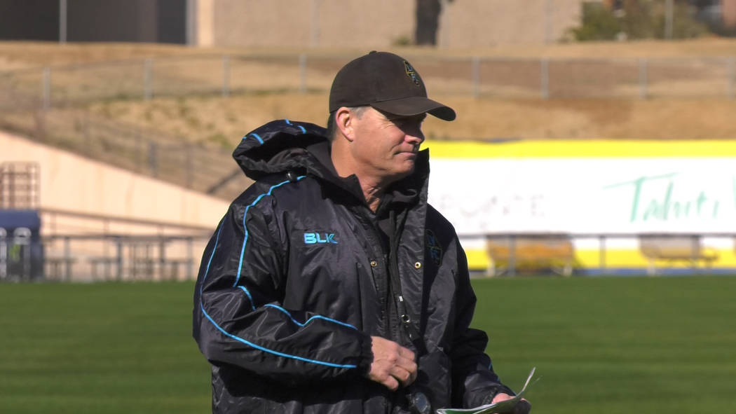 Las Vegas Lights manager Eric Wynalda at practice at Cashman Field Feb. 3 2020. Photo by Le'And ...