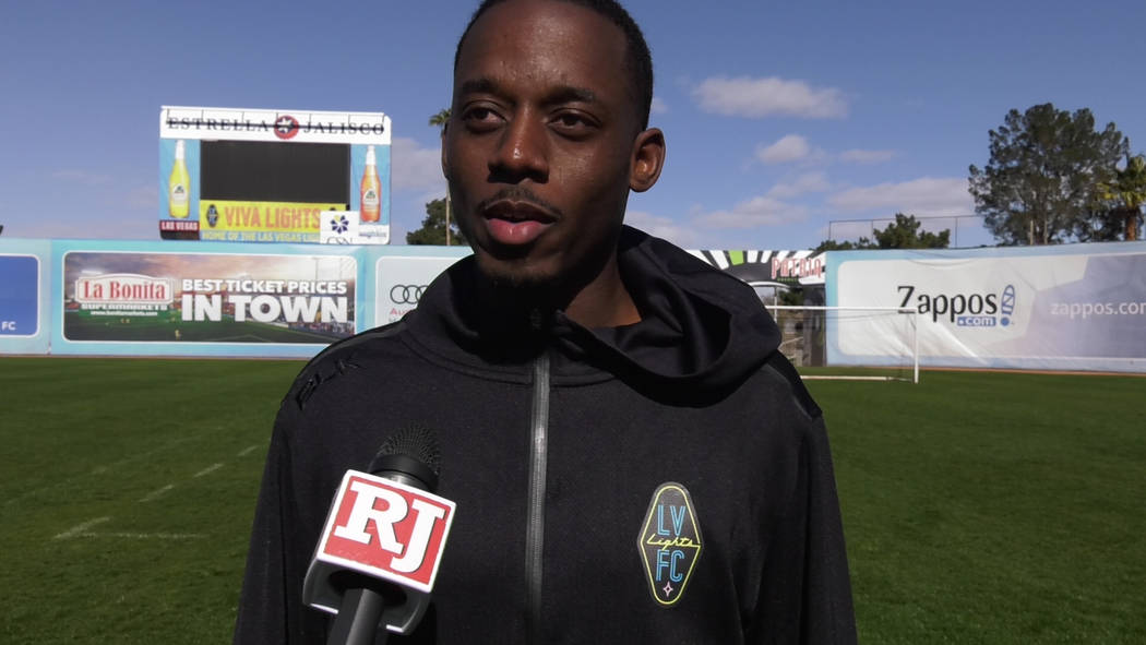 Las Vegas Lights defender Jordan Murrell is interviewed after practice at Cashman Field Feb. 3 ...