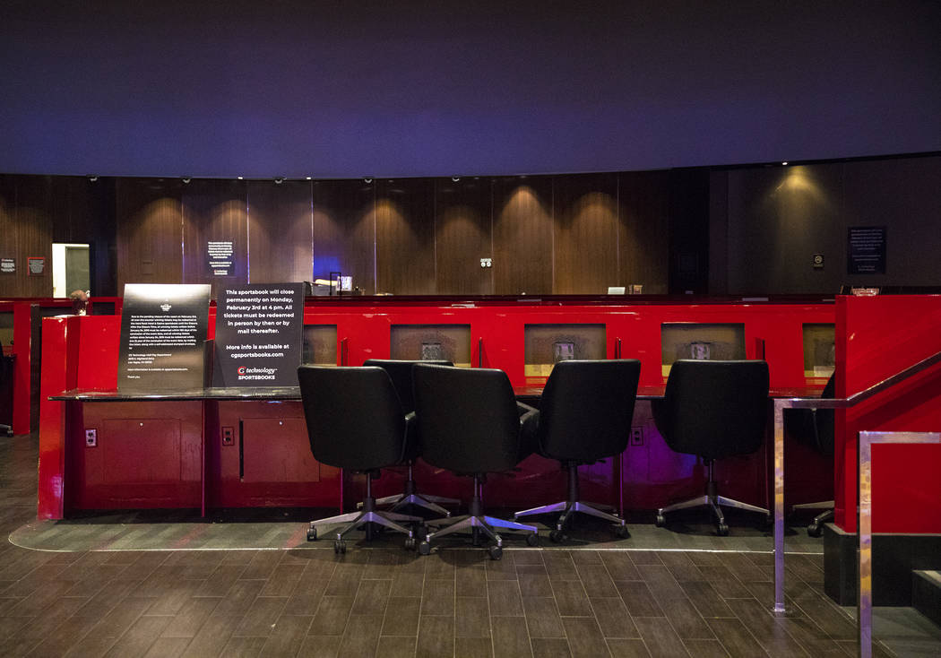 The closed sports book at Hard Rock Hotel in Las Vegas, Monday, Feb. 3, 2020. The property clos ...