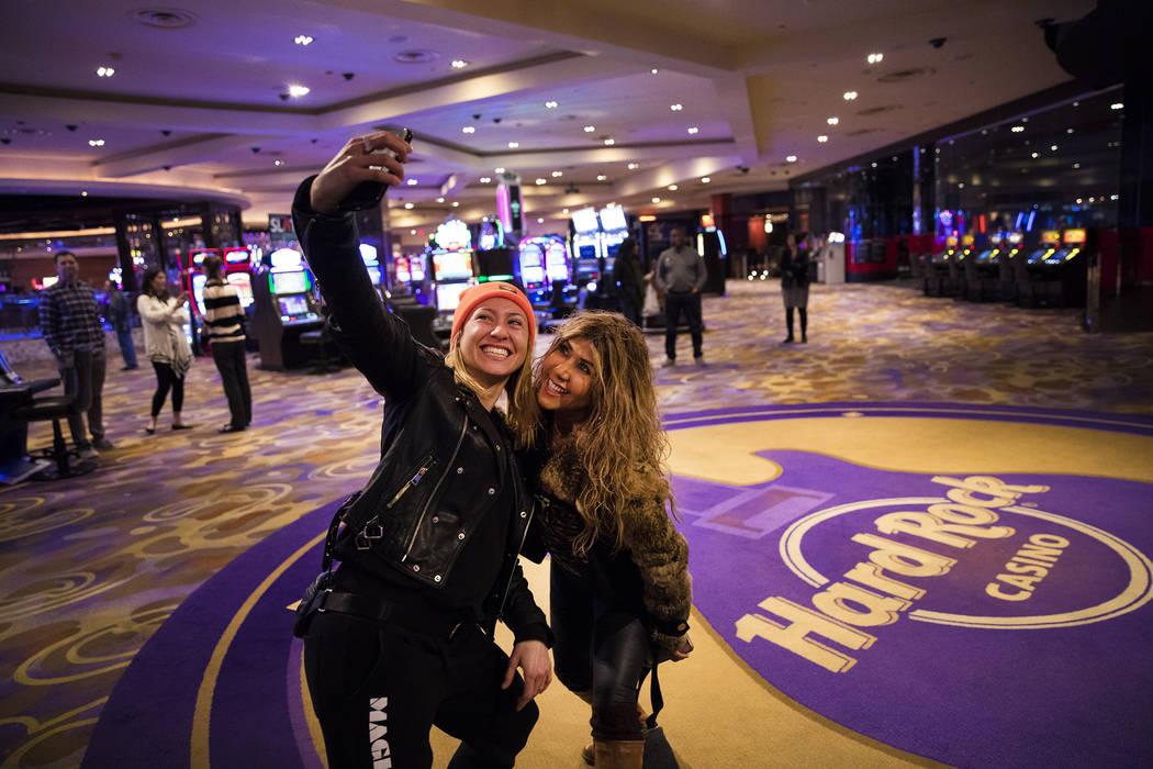 Linda Garisto, left, a dancer for the Magic Mike Live show, and long time customer Esmeralda Wa ...