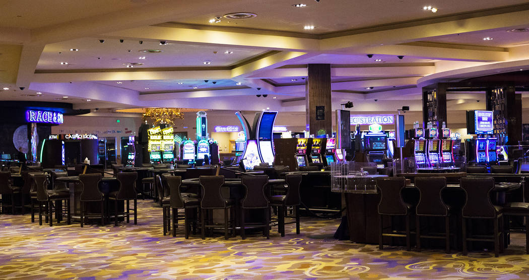 Empty slot machines and gaming tables at Hard Rock Hotel in Las Vegas, Monday, Feb. 3, 2020. Th ...