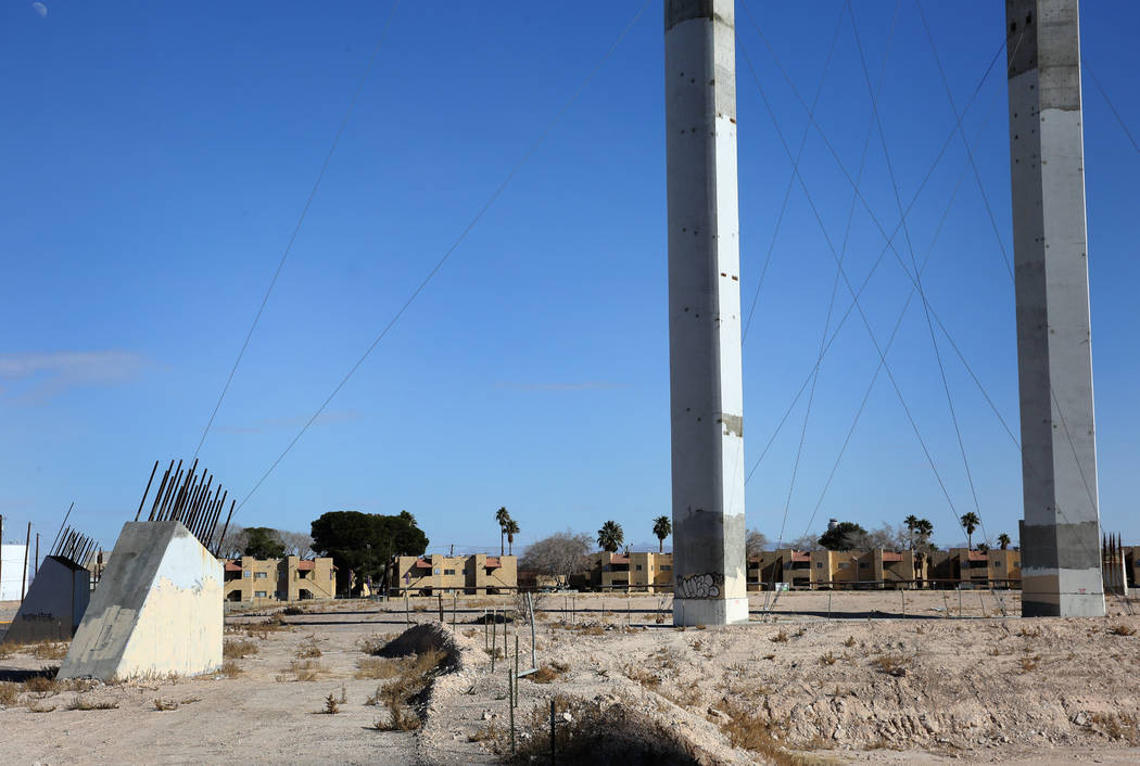 The abandoned, partially built SkyVue observation-wheel project across from Mandalay Bay, is ph ...