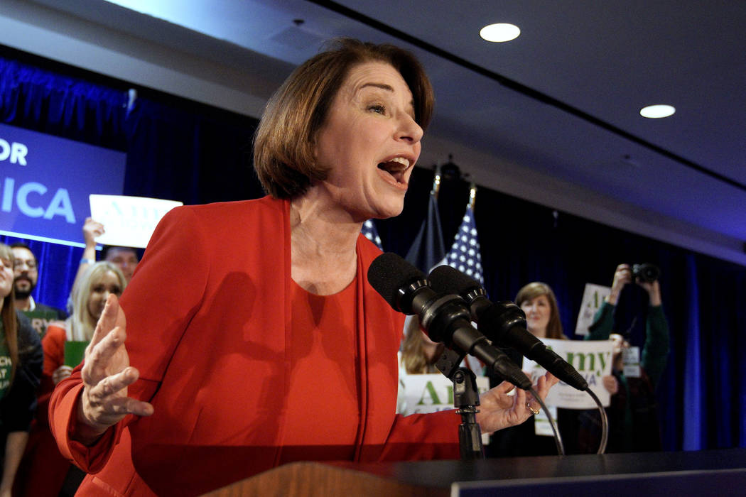 Democratic presidential candidate Sen. Amy Klobuchar, D-Minn., speaks to supporters at her cauc ...