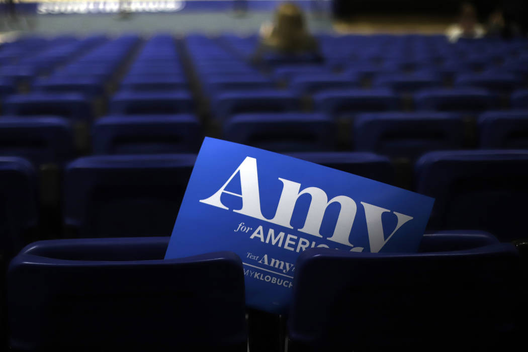 A campaign sign for Democratic presidential candidate Sen. Amy Klobuchar, D-Minn., in her secti ...